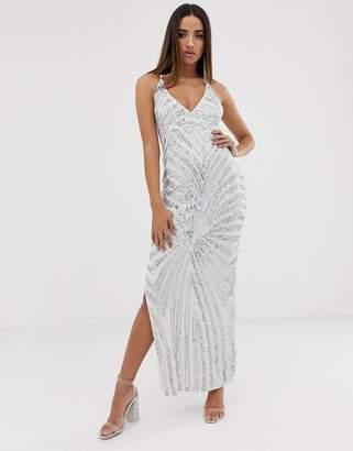 Club L London patterned sequin maxi dress