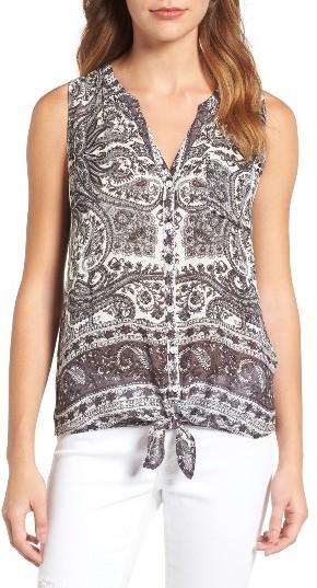 Women's Lucky Brand Print Tie Front Top