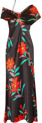 Diane von Furstenberg Off-the-shoulder Floral-print Silk Crepe De Chine And Tulle Gown