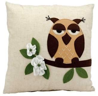 Nourison Life Styles One Owl Beige Throw Pillow