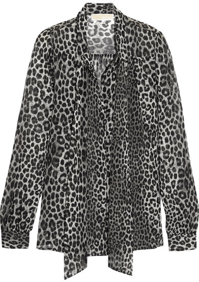 MICHAEL Michael Kors - Panther Pussy-bow Printed Chiffon Blouse - Black