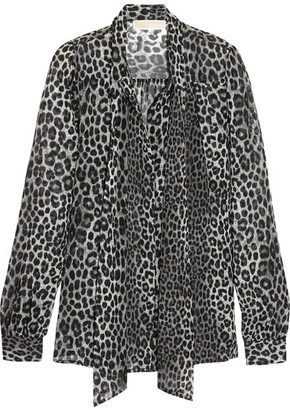 MICHAEL Michael Kors - Panther Pussy-bow Printed Chiffon Blouse - Black $100 thestylecure.com