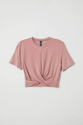 H&M Jersey Top with Knot Detail - Pink