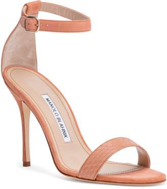 Manolo Blahnik Chaosbic 105 Brown Suede Snakeskin Sandals