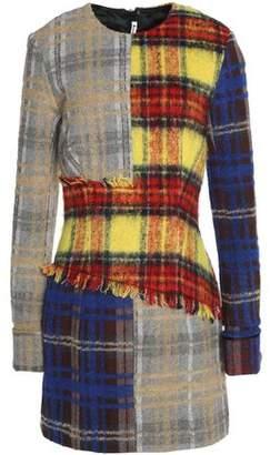 Acne Studios Frayed Checked Wool-Blend Mini Dress