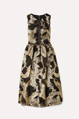 Marchesa Cutout Lace-trimmed Metallic Fil Coupé Organza Midi Dress