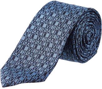 Versace Blue Logo Check Silk Tie