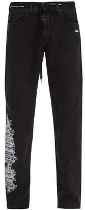 Off-White Off White Embroidered Slim Leg Jeans - Mens - Black