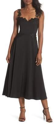 SAU LEE Aislinn Floral Applique Tea Length Dress