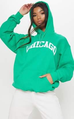 PrettyLittleThing Emerald Chicago Slogan Hoodie
