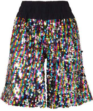 ... Mira Mikati Sequined Tulle Shorts - Metallic