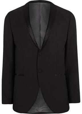 River Island Mens Black Jack and Jones Premium tux blazer