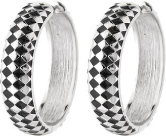 """Ralph Lauren G. Adams G Adams Silvertone Checkerboard 1-1/8"""" Hoop Earrings"""