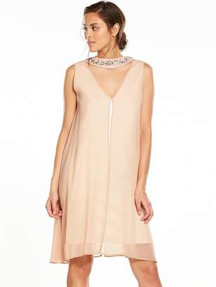 Wallis Embellished Neck Over Layer Dress