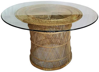 One Kings Lane Vintage Woven Rattan Dining Table with Glass Top
