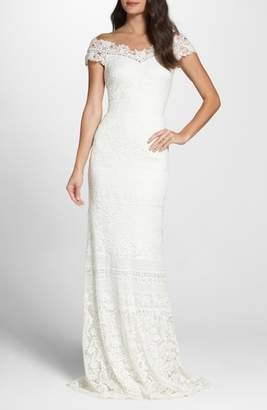 Tadashi Shoji Off the Shoulder Illusion Lace Gown