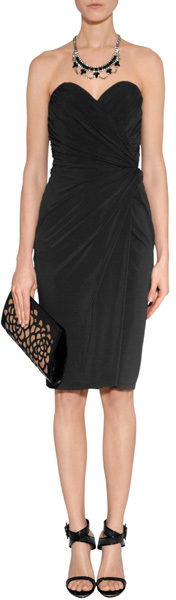 Paule Ka Black Draped Strapless Dress