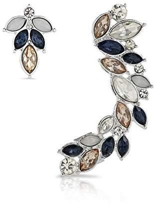 Johnny Loves Rosie Women Black Gold Plated Cubic Zirconia Ear Cuff Earrings AXZxaB