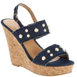 Forever Young Women's Denim Wedges With Pearl Embellishments