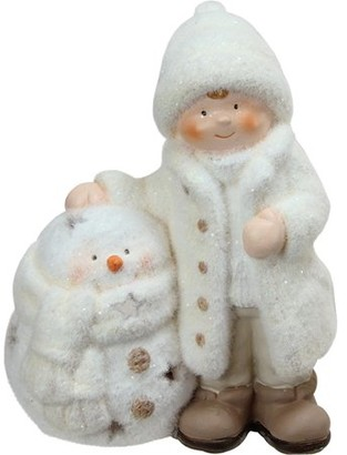 """Northlight 8.75"""" White Tealight Snowman with Standing Boy Christmas Candle Holder"""