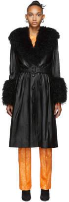 Saks Potts Black Foxy Shearling Coat