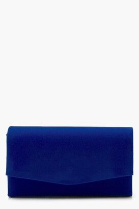 boohoo Structured Suedette Clutch With Chain