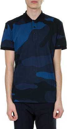 Valentino Camouflage Blue Polo Shirt In Cotton