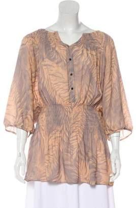 Matthew Williamson Silk Printed Short Sleeve Blouse