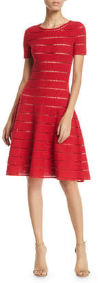 Oscar de la Renta Short-Sleeve Pointelle Metallic-Knit Fit-and-Flare Dress