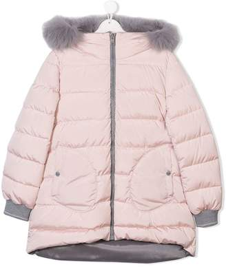 Herno Kids TEEN fur trimmed hooded puffer coat