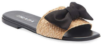 d03d0a684ff1 Prada Raffia Bow Flat Slide Sandals