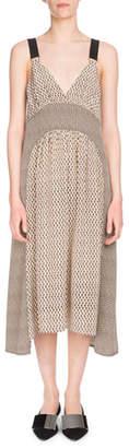 Proenza Schouler Deep-V Sleeveless Mixed-Print Silk Midi Dress