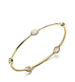 Ippolita Women's Lollipop Clear Quartz & 18K Yellow Gold Five-Stone Station Bangle Bracelet