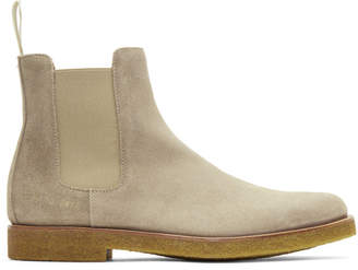 Common Projects Grey Waxed Suede Chelsea Boots