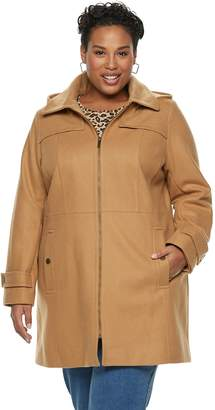 London Fog Tower By Plus Size TOWER by Zip-Front Wool Blend Jacket