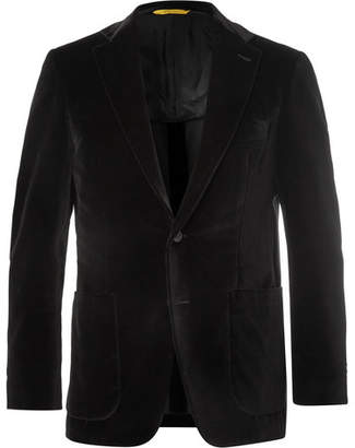 Canali Black Kei Slim-Fit Cotton-Velvet Blazer - Men - Black