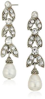 Swarovski Ben-Amun Jewelry Pearl and Crystal Deco Marquise Cut Drop Earrings for Bridal Wedding Anniversary