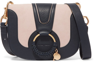 See by Chloé - Hana Small Textured-leather And Suede Shoulder Bag - Midnight blue $425 thestylecure.com