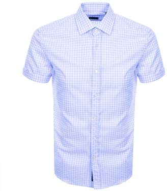 889020a3 HUGO BOSS Boss Business Short Sleeved Slim Fit Shirt Blue