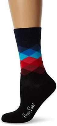 Happy Socks Women's Faded Diamond Socks,4-7 (Manufacturer Size:36-40)