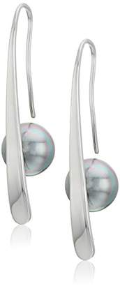 Majorica 10mm Gray Round Pearl Bar Earrings