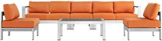Modway Outdoor Shore 6Pc Outdoor Patio Aluminum Sectional Sofa Set