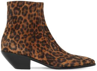 Saint Laurent 40mm West Leopard Print Suede Boots