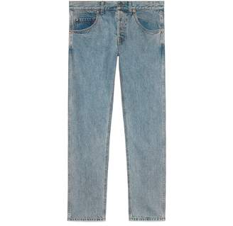 Gucci Tapered denim pant with symbols