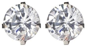 14K Round CZ Stud Earrings - 8MM