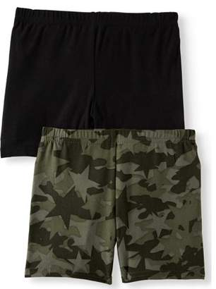 ad38b400ab One Step Up Camo Printed and Solid Bike Shorts, 2-Pack (Little Girls