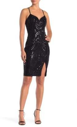 Lumier Missy Criss-Cross Back Sequin Midi Dress
