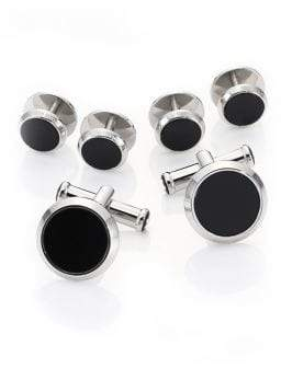 Montblanc Onyx& Stainless Steel Tuxedo Studs& Cuff Links Set