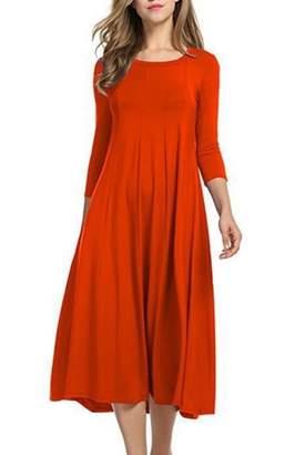 RQH Womens 3/4 Sleeves O Neck Loose Plain Maxi Casual Party Bridesmaid Dress