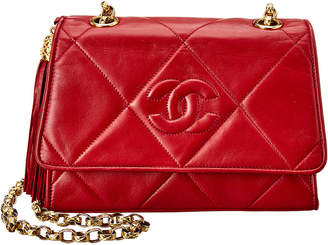 Chanel Red Lambskin Leather Small Single Flap Shoulder Bag